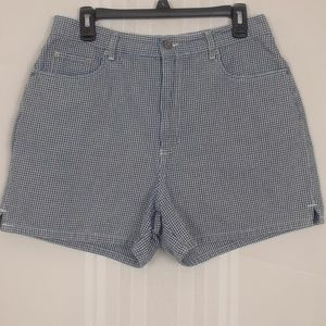 High rise blue check shorts size 14 made in Egypt